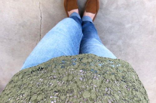 Olive Green Lace Top