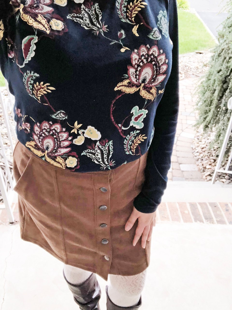Painted Floral Top + Faux Suede Skirt 10