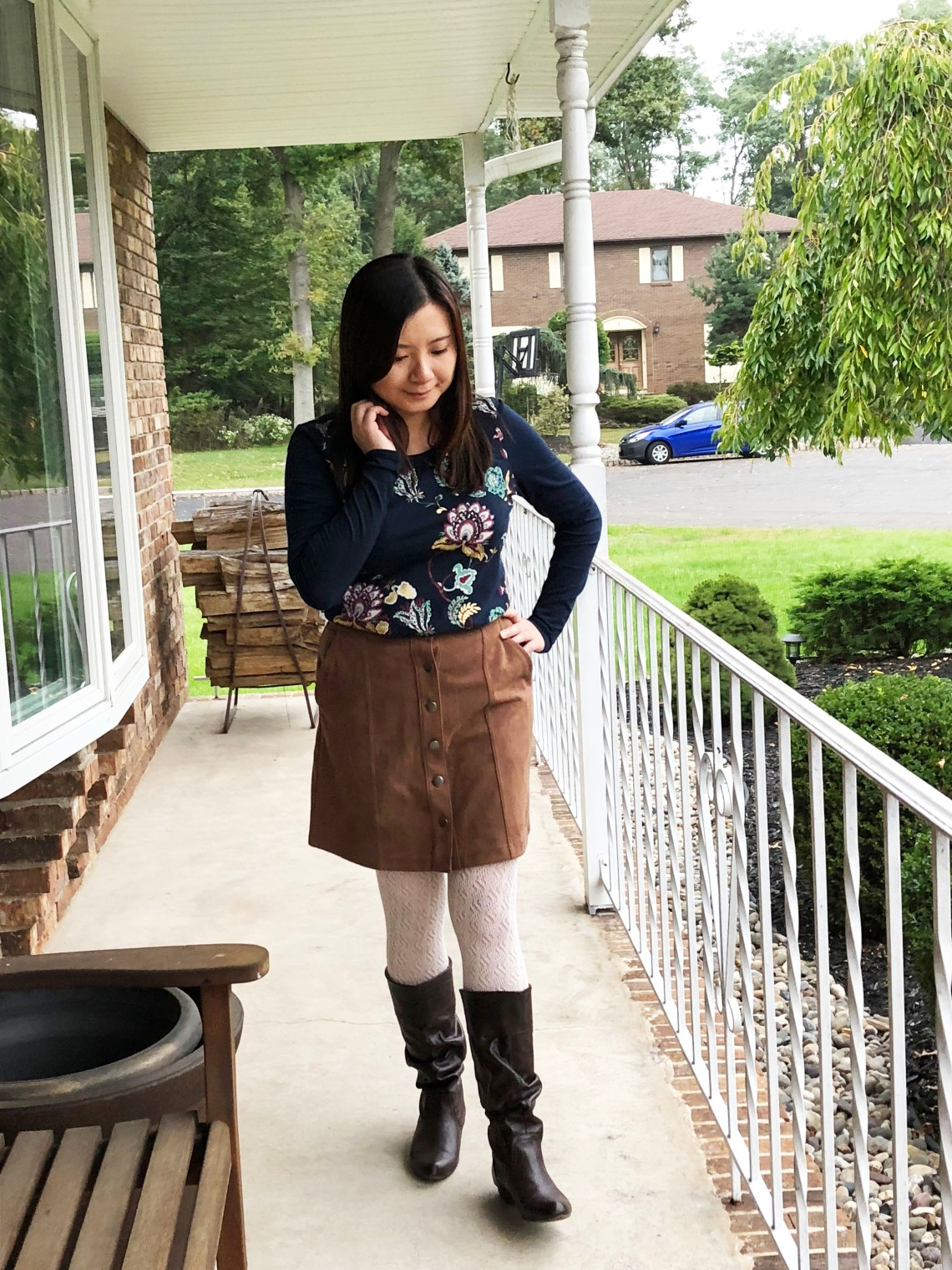 Painted Floral Top + Faux Suede Skirt