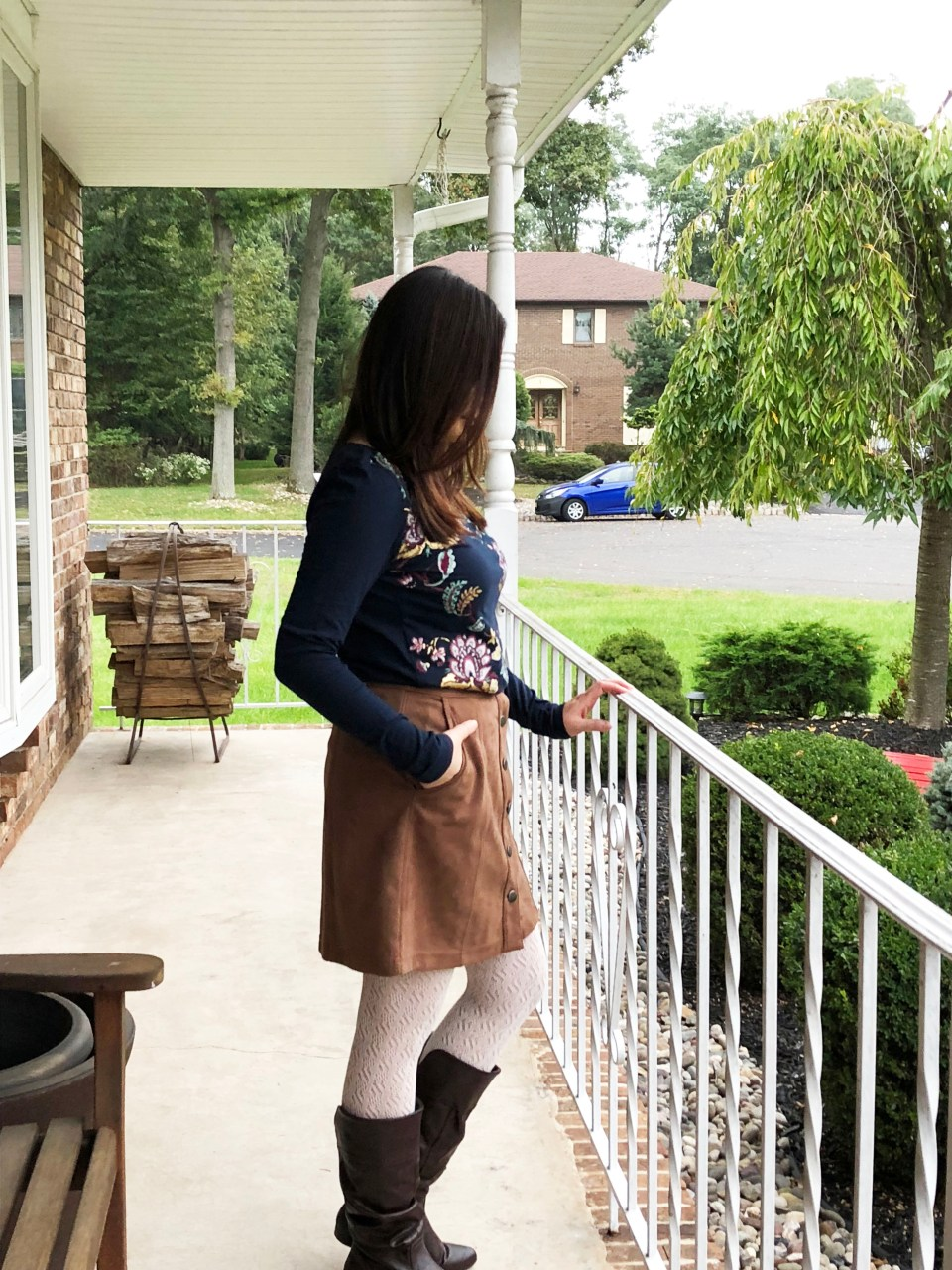 Painted Floral Top + Faux Suede Skirt 6