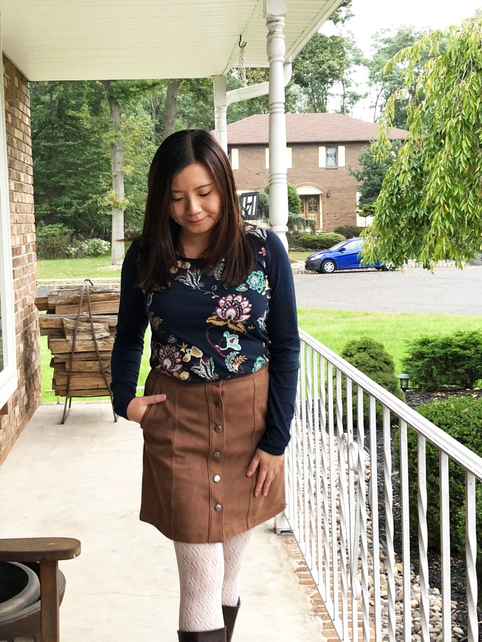 Painted Floral Top + Faux Suede Skirt 7