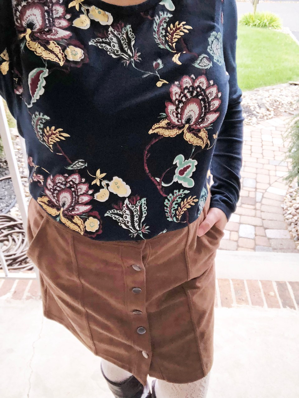 Painted Floral Top + Faux Suede Skirt 9