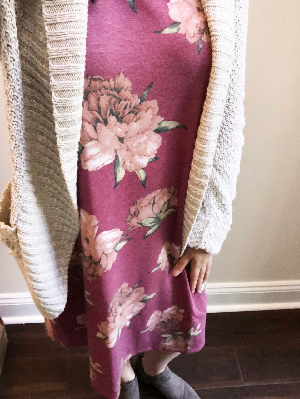 Pink Floral French Terry Dress 11