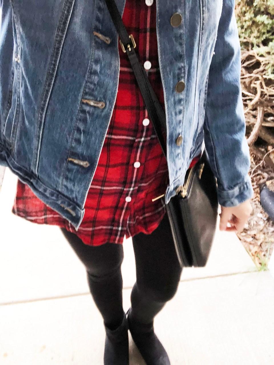 Plaid & Lace Top + Denim Jacket 12