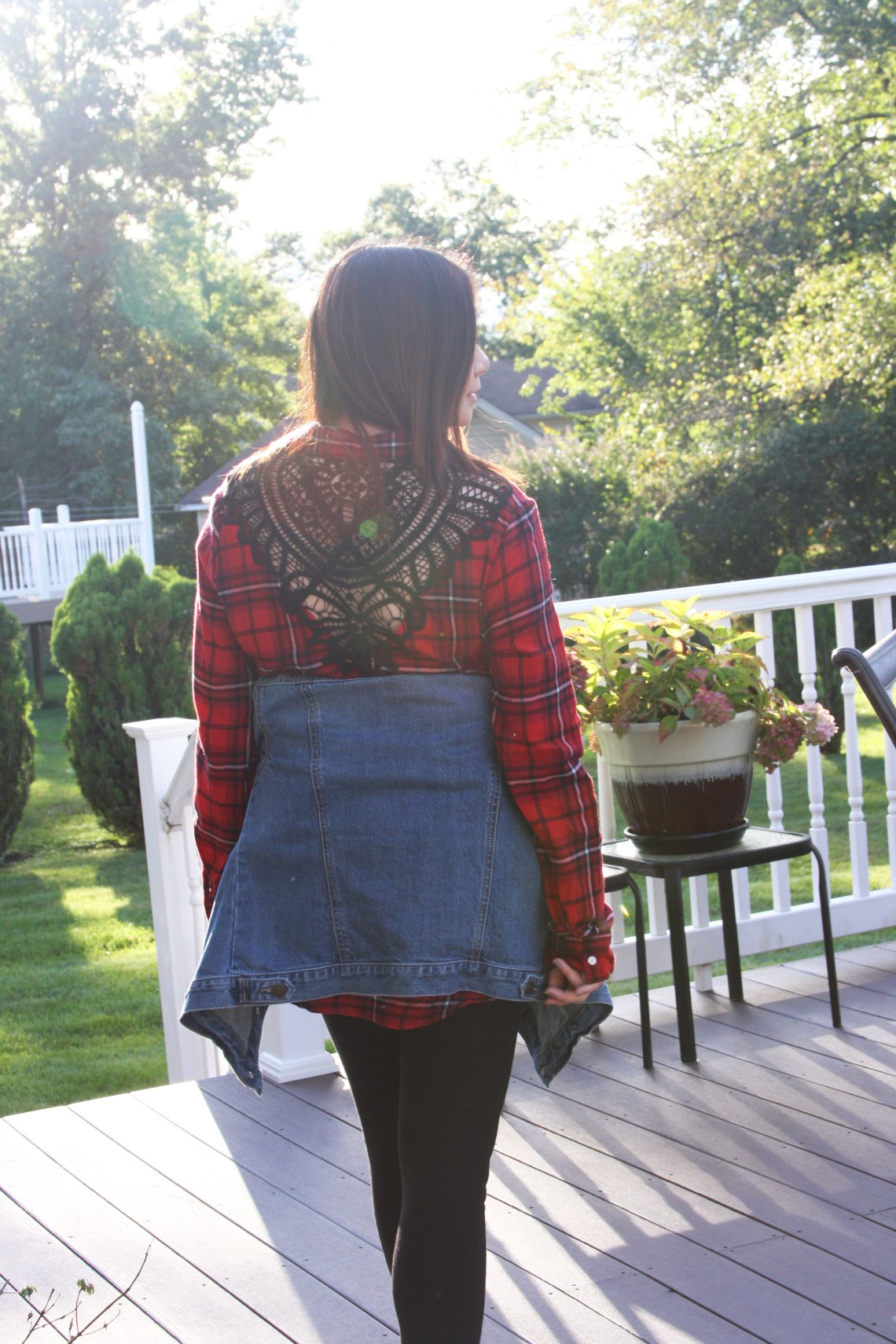 Plaid & Lace Top + Denim Jacket