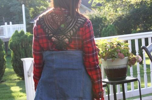 Plaid & Lace Top + Denim Jacket