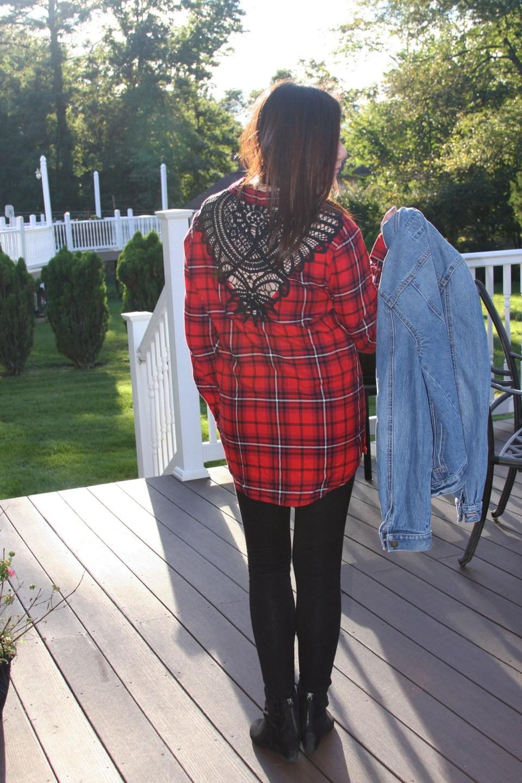 Plaid & Lace Top + Denim Jacket 7