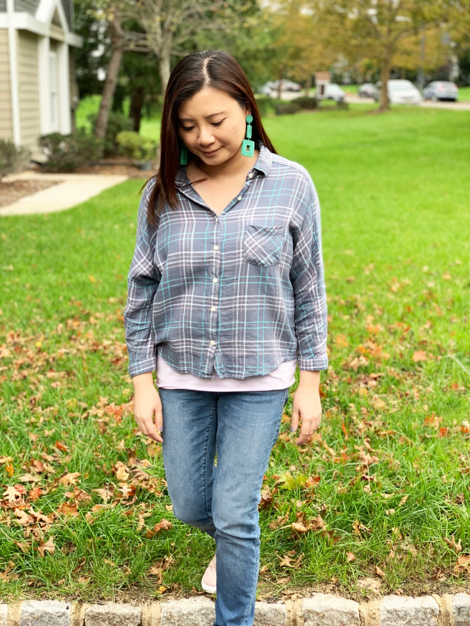 Plaid Top + Mint Statement Earrings 8