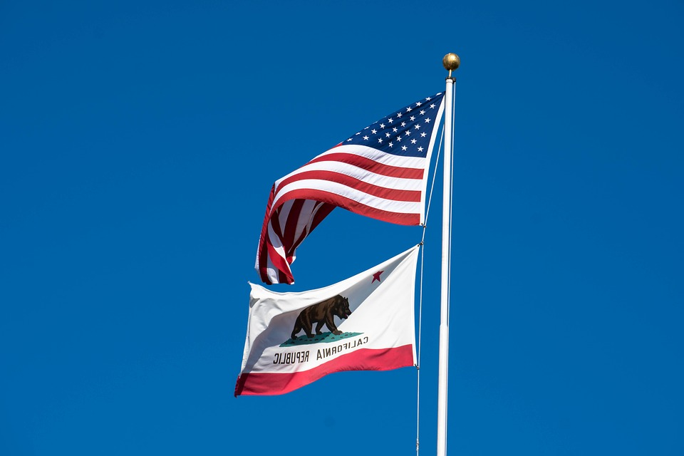 Flag State California Banner Usa America United