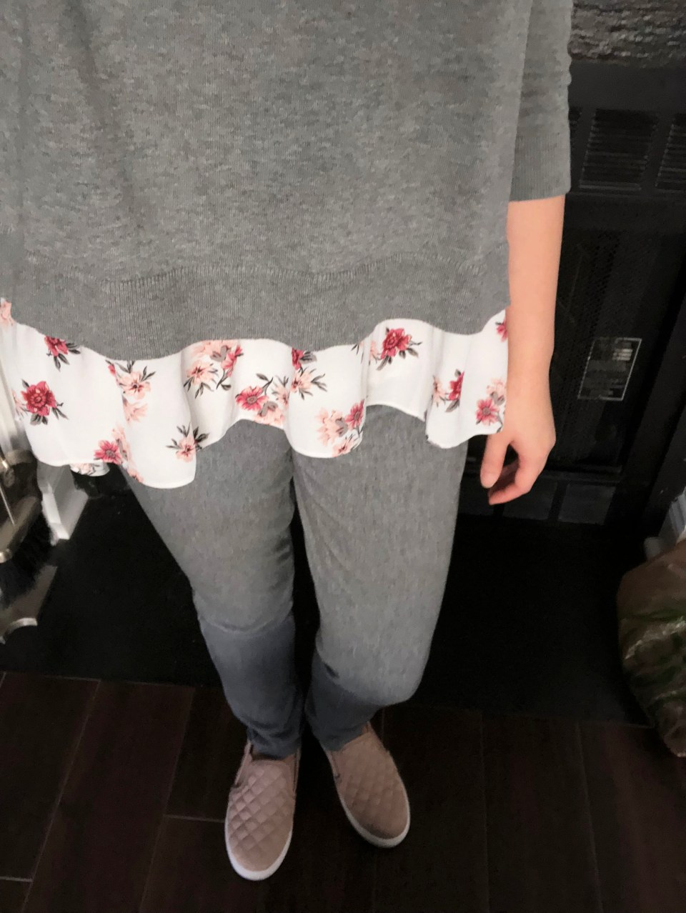 Grey & Floral Layered Top 2