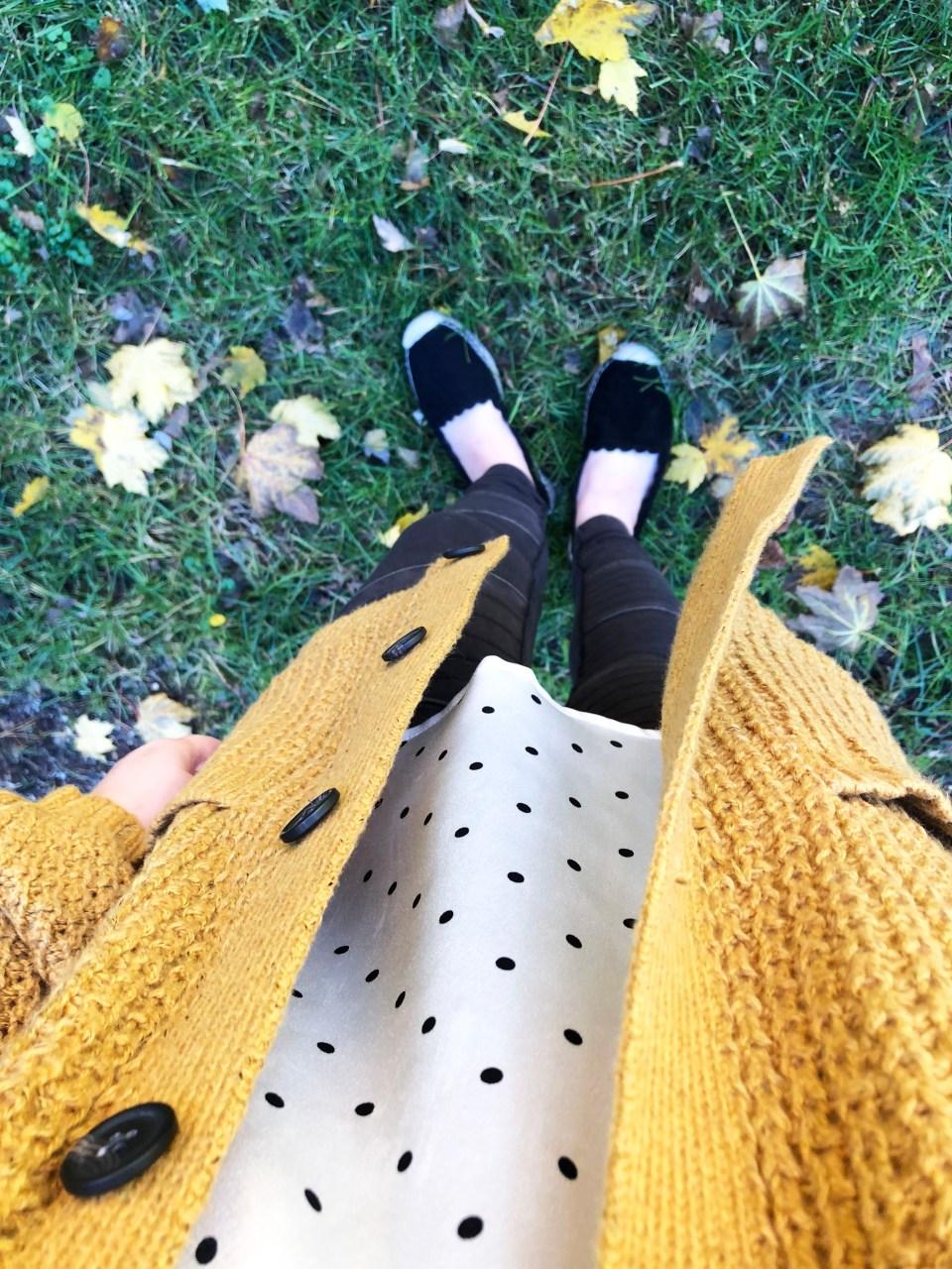 Mustard Waffle Knit Cardigan + Polka Dot Cami