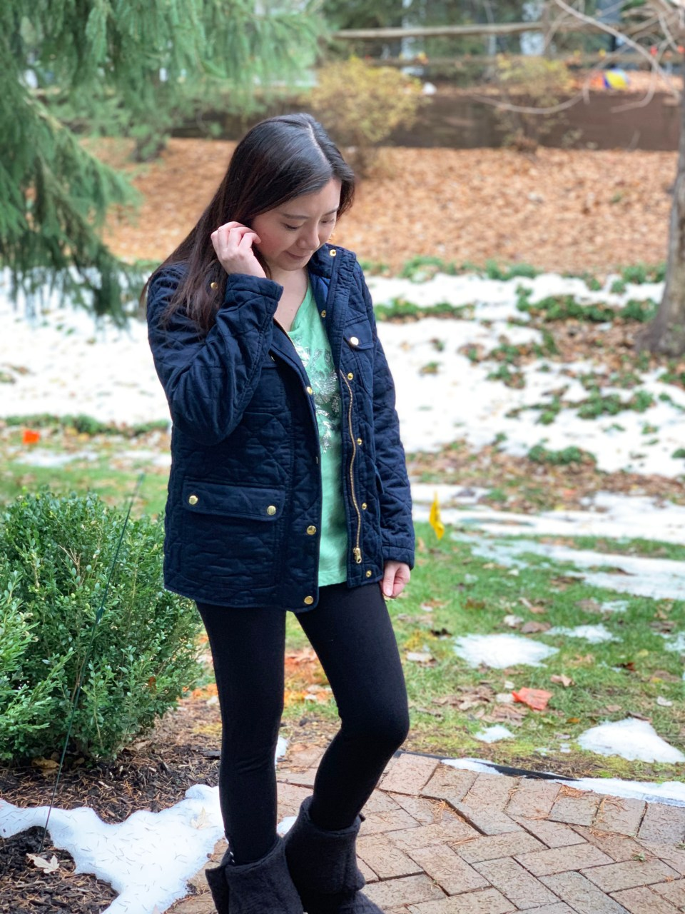 Navy Blue Quilted Jacket 2
