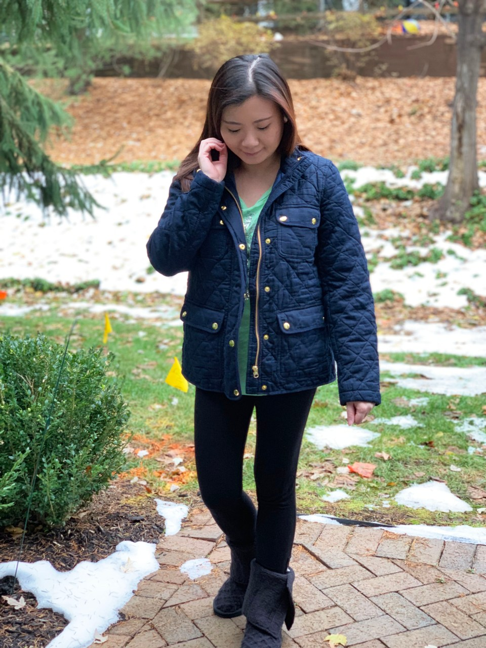 Navy Blue Quilted Jacket 5