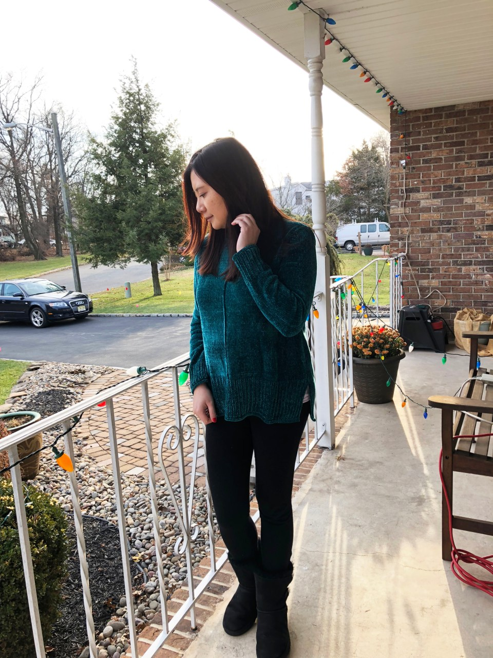 Green Chenille Sweater 1