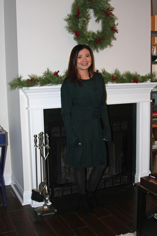 Green Corset Waist Sweater Dress 13