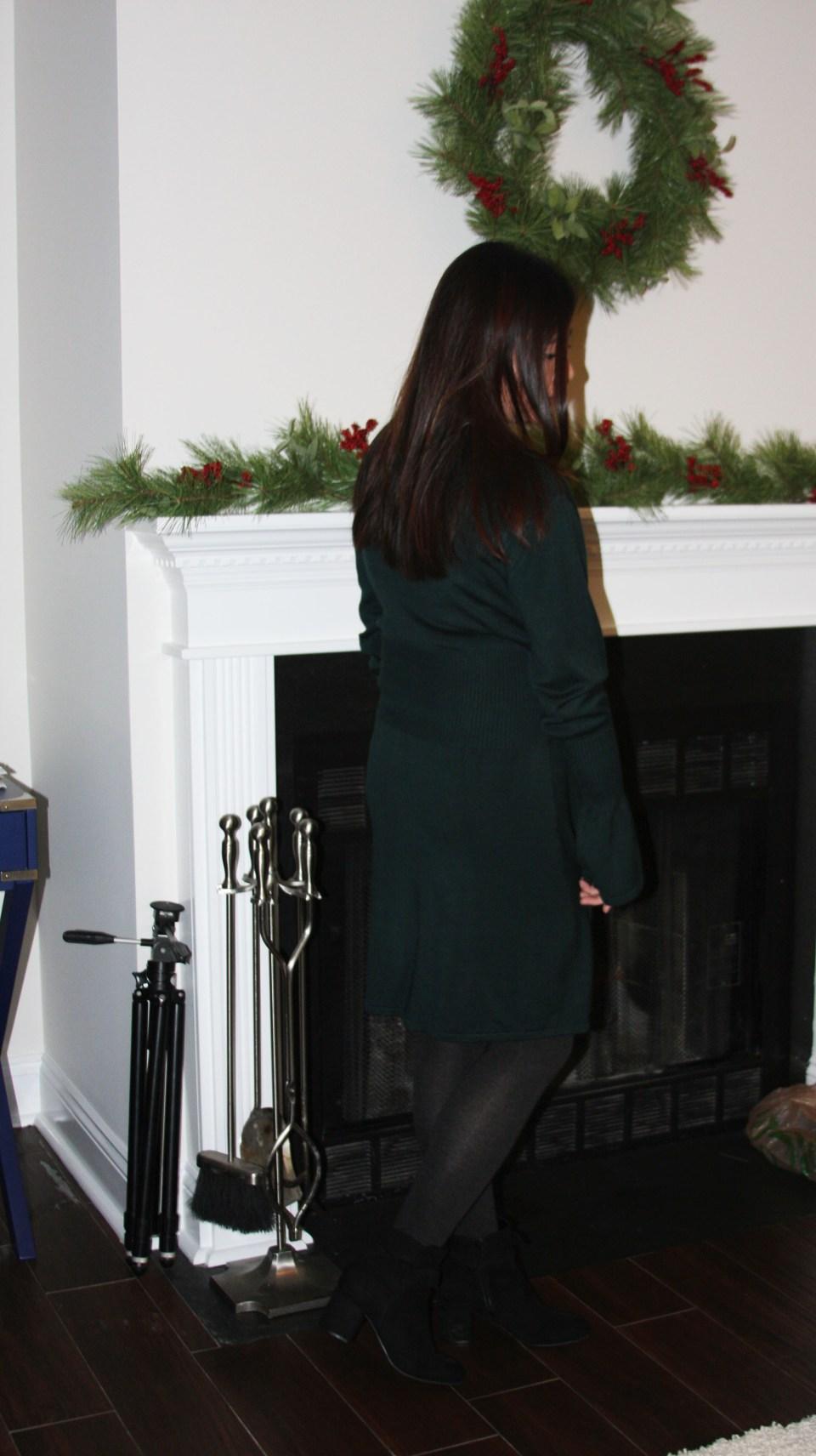 Green Corset Waist Sweater Dress 5