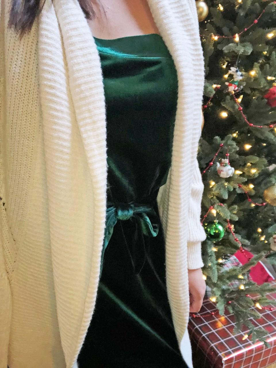 Green Velvet Dress 1