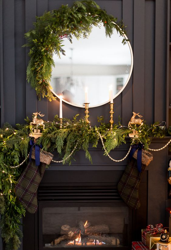 Greenery Christmas Mantel