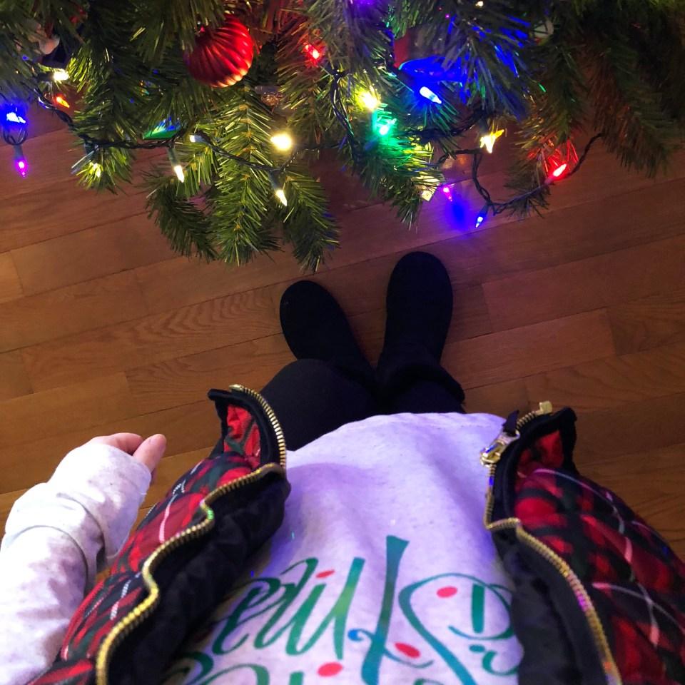 Merry Christmas tree tee + plaid vest