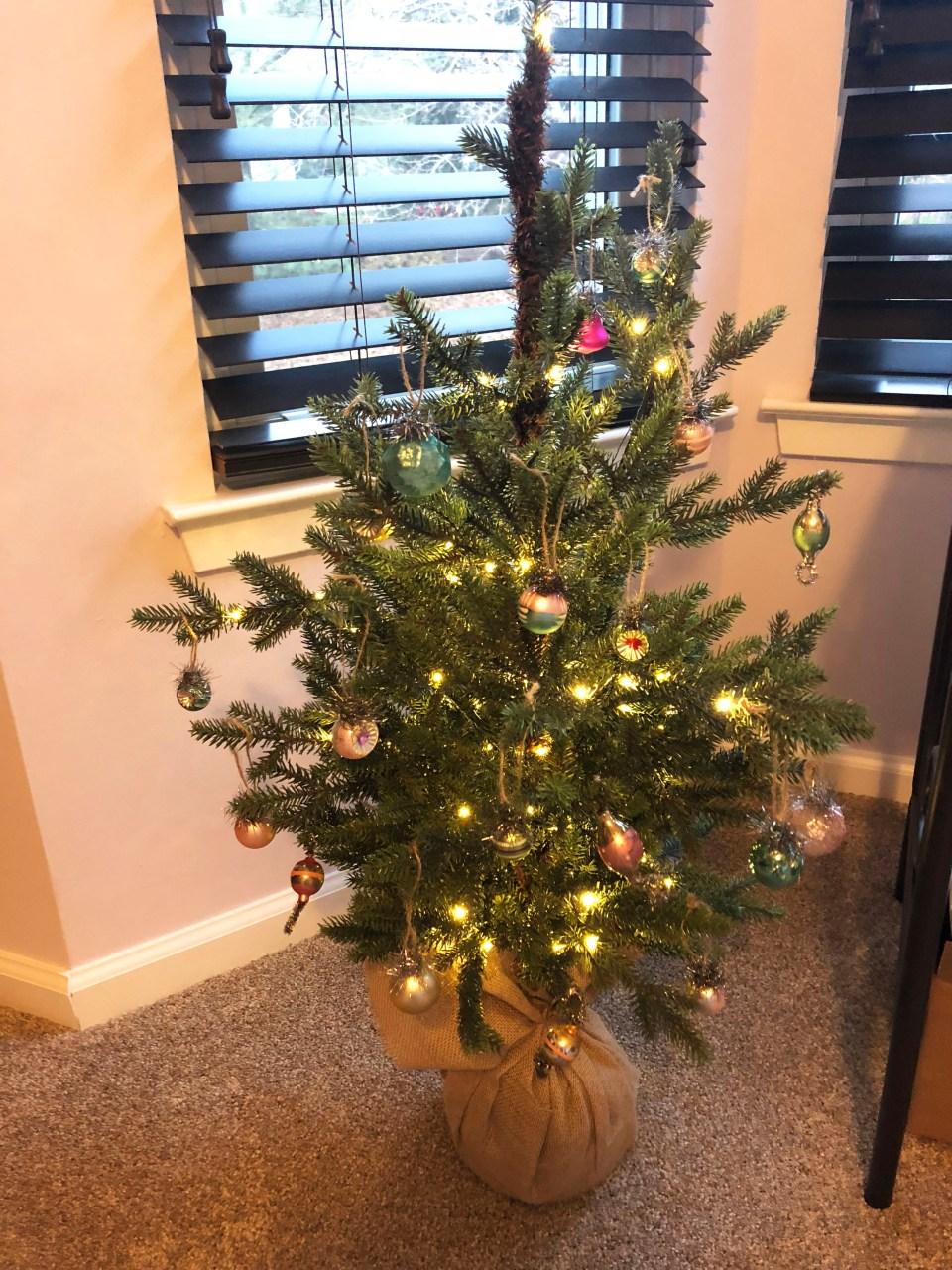 Mini Christmas Tree + Vintage Ornaments