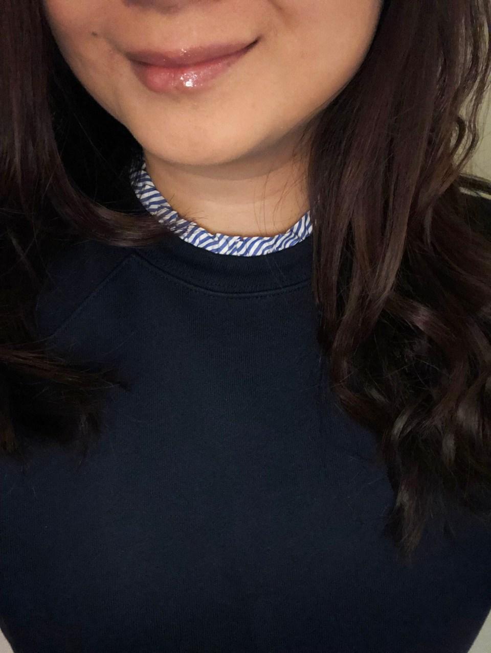 Blue & White Ruffle Trim Top