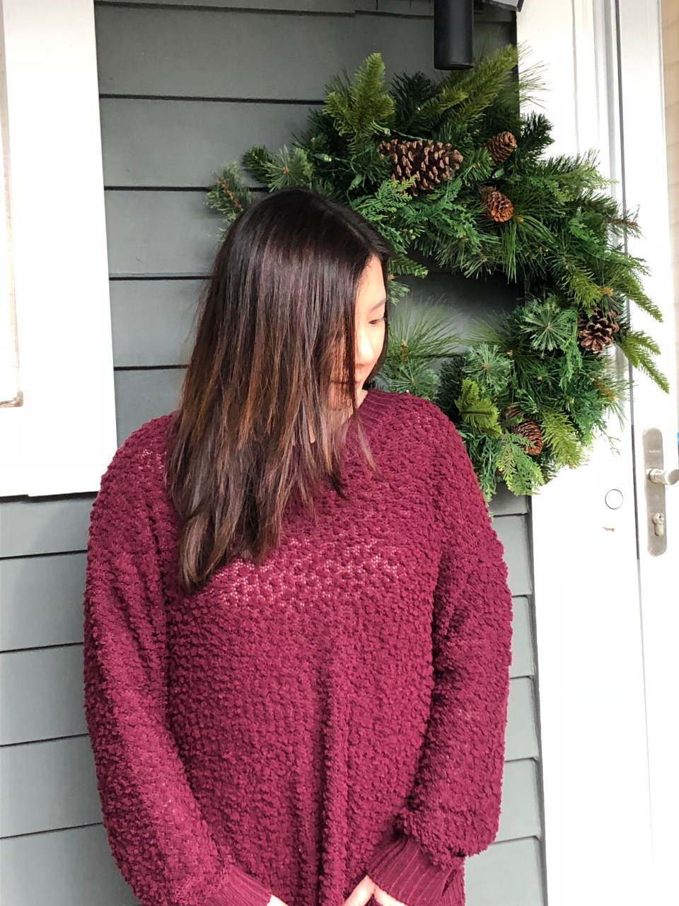 Burgundy Popcorn Sweater 1