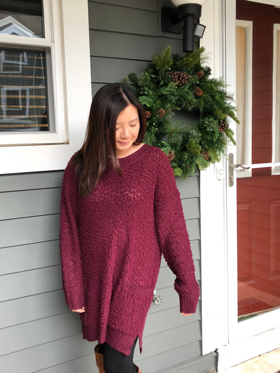 Burgundy Popcorn Sweater 11