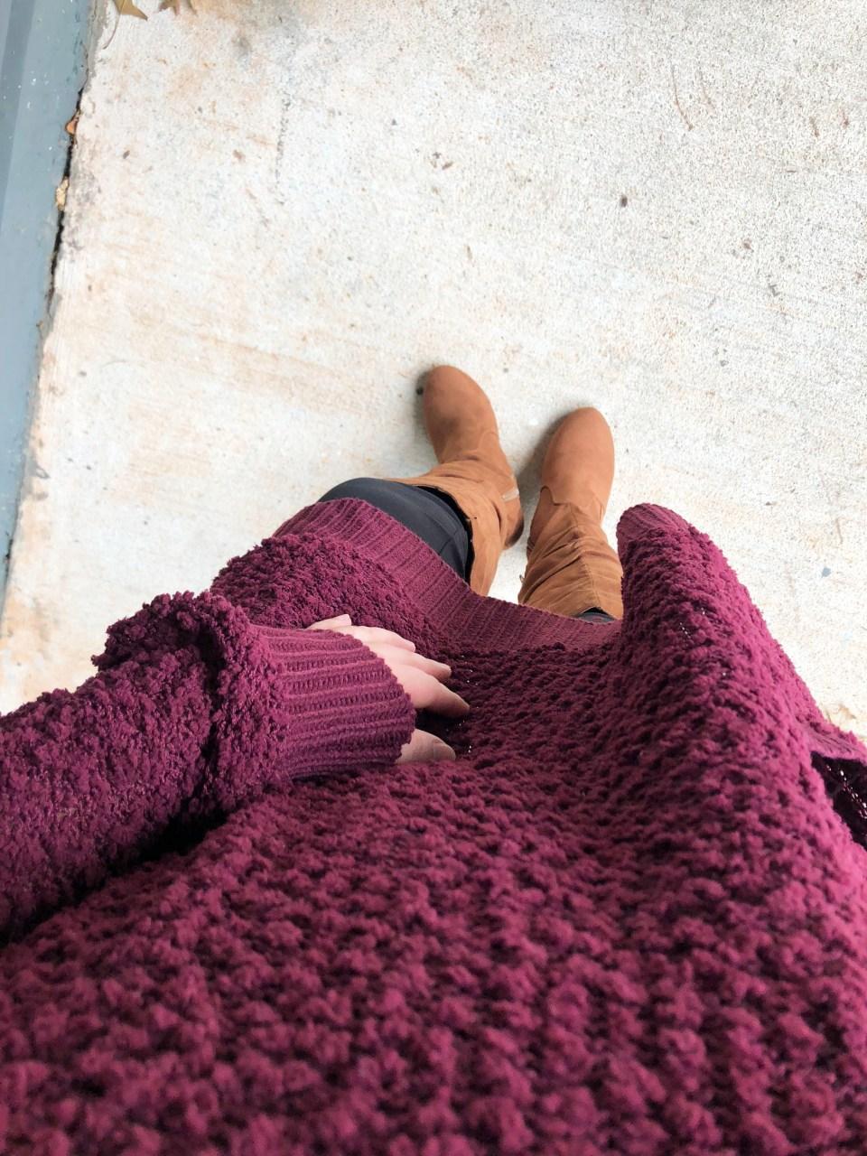 Burgundy Popcorn Sweater 7