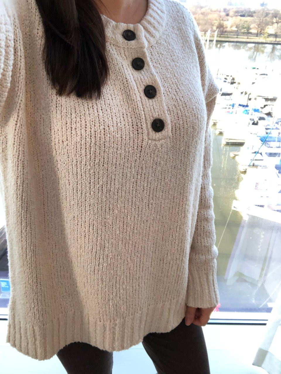 Cream Henley Pullover 12