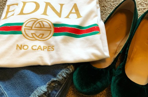 Edna - No Capes tee & Green Velvet Flats