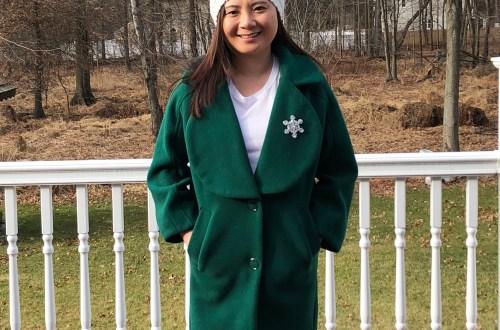 Green Lapel Coat + Snowflake Brooch