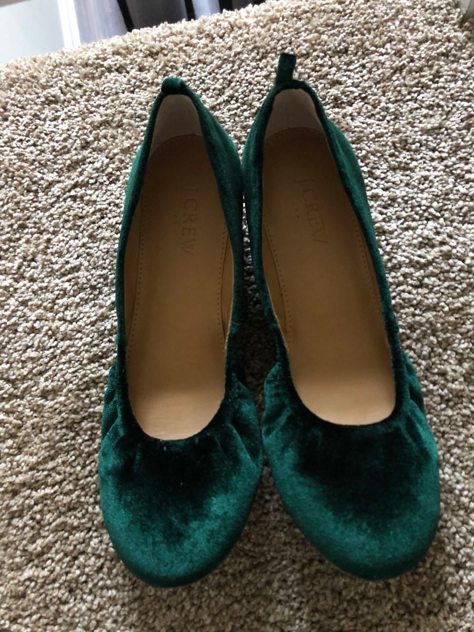 Green Velvet Flats 1