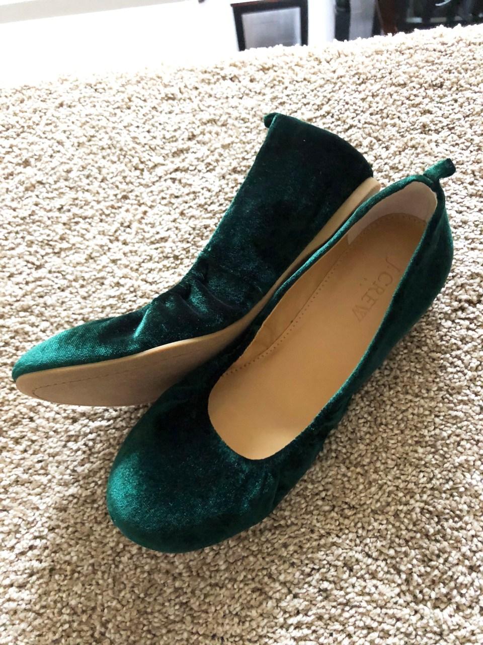 Green Velvet Flats 2