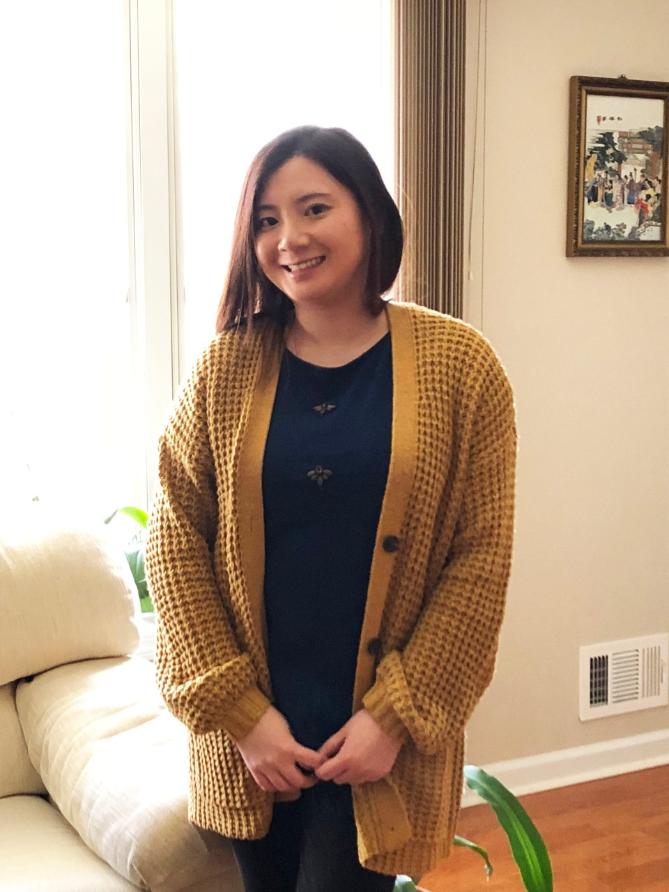 Mustard Waffle Knit + Bee Embellished Top 6