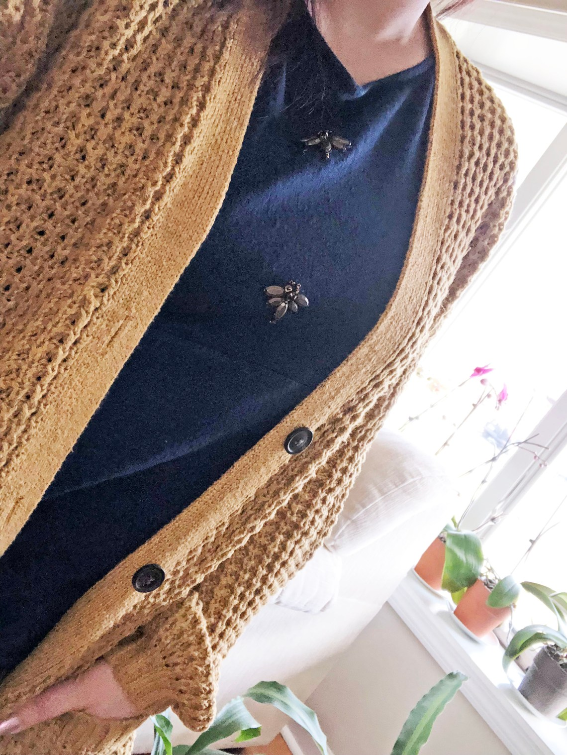 Mustard Waffle Knit + Bee Embellished Top