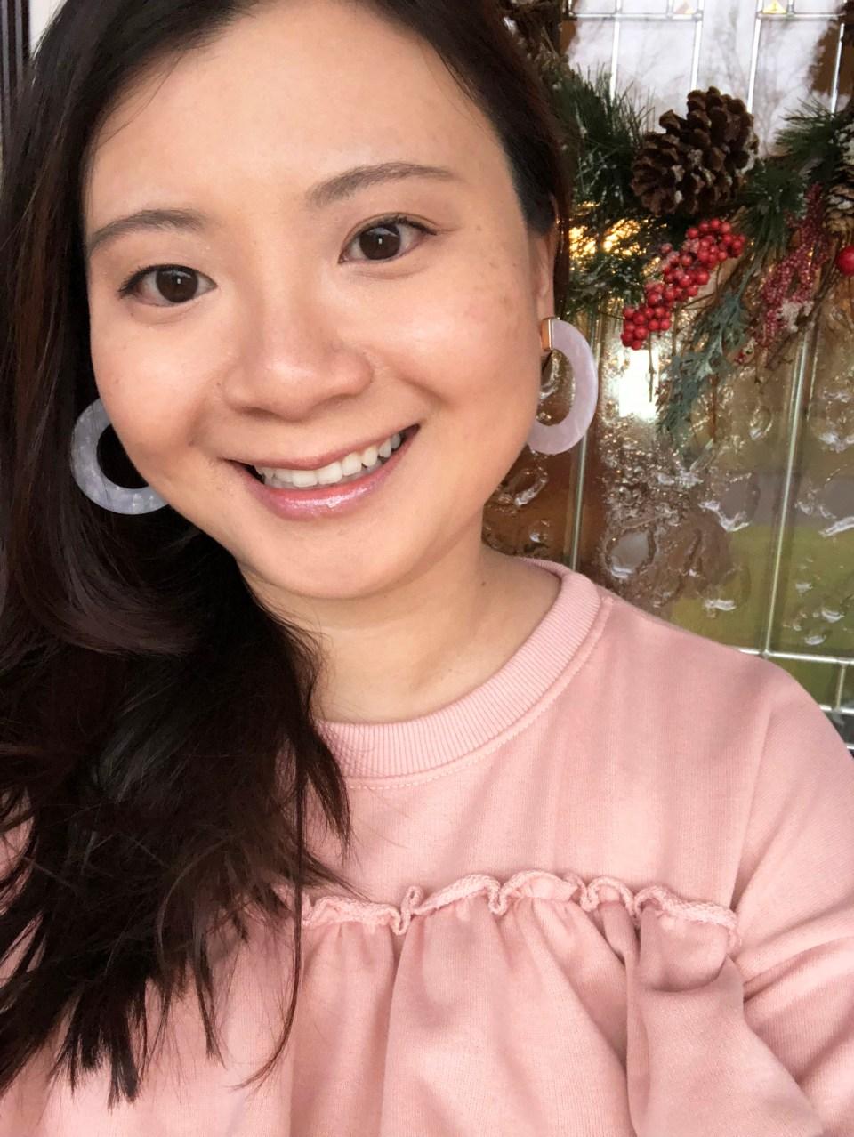 Pink Ruffle + Faux White Stone Earrings 5