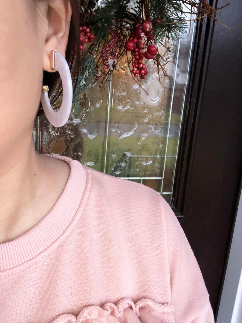 Pink Ruffle + Faux White Stone Earrings 6