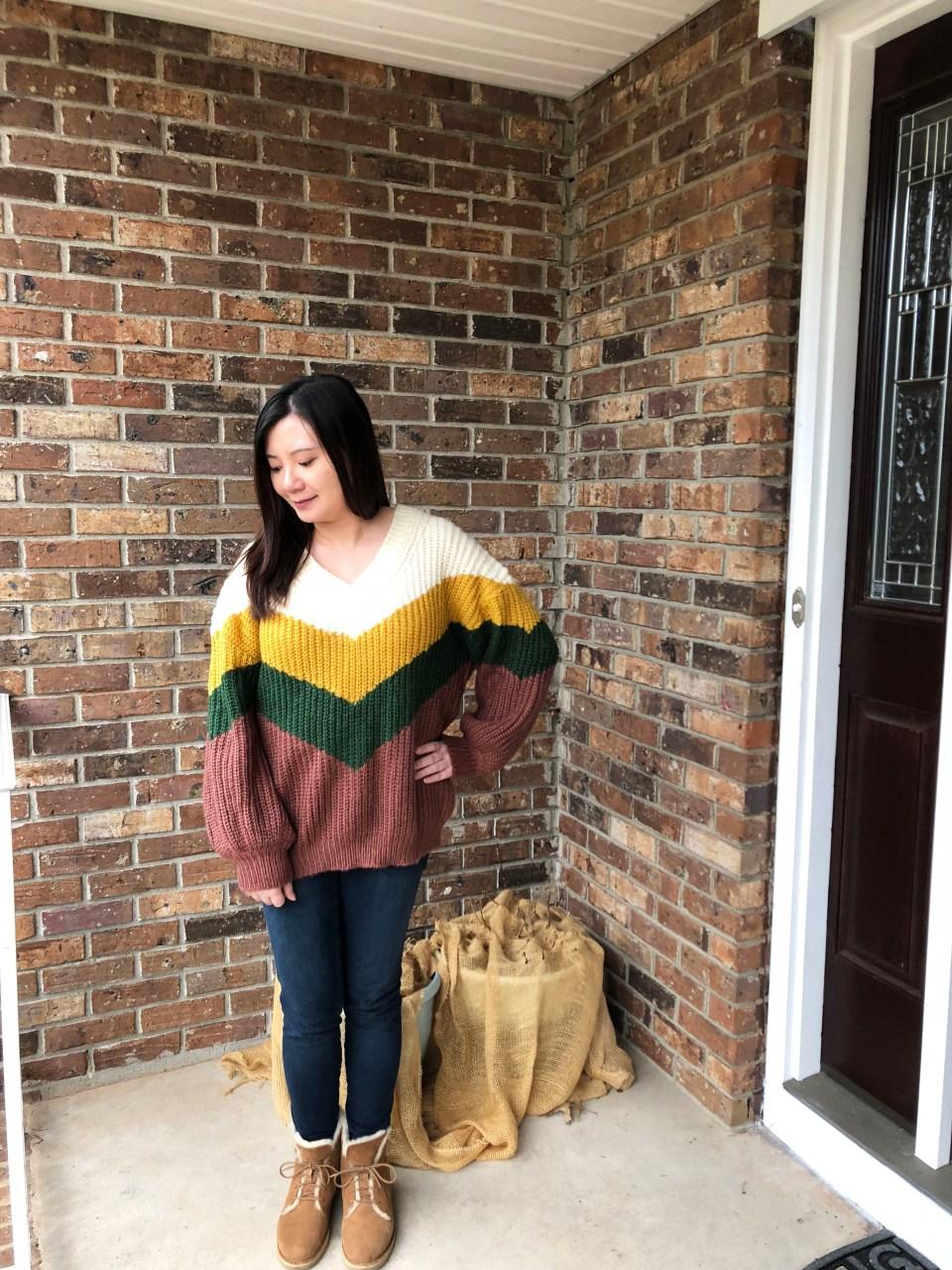 Colorblock Chevron Sweater 7