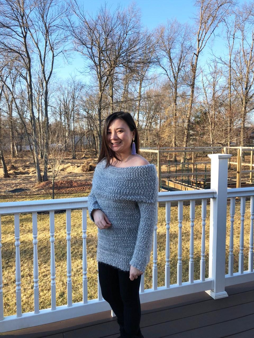 Grey Eyelash OTS Sweater 3