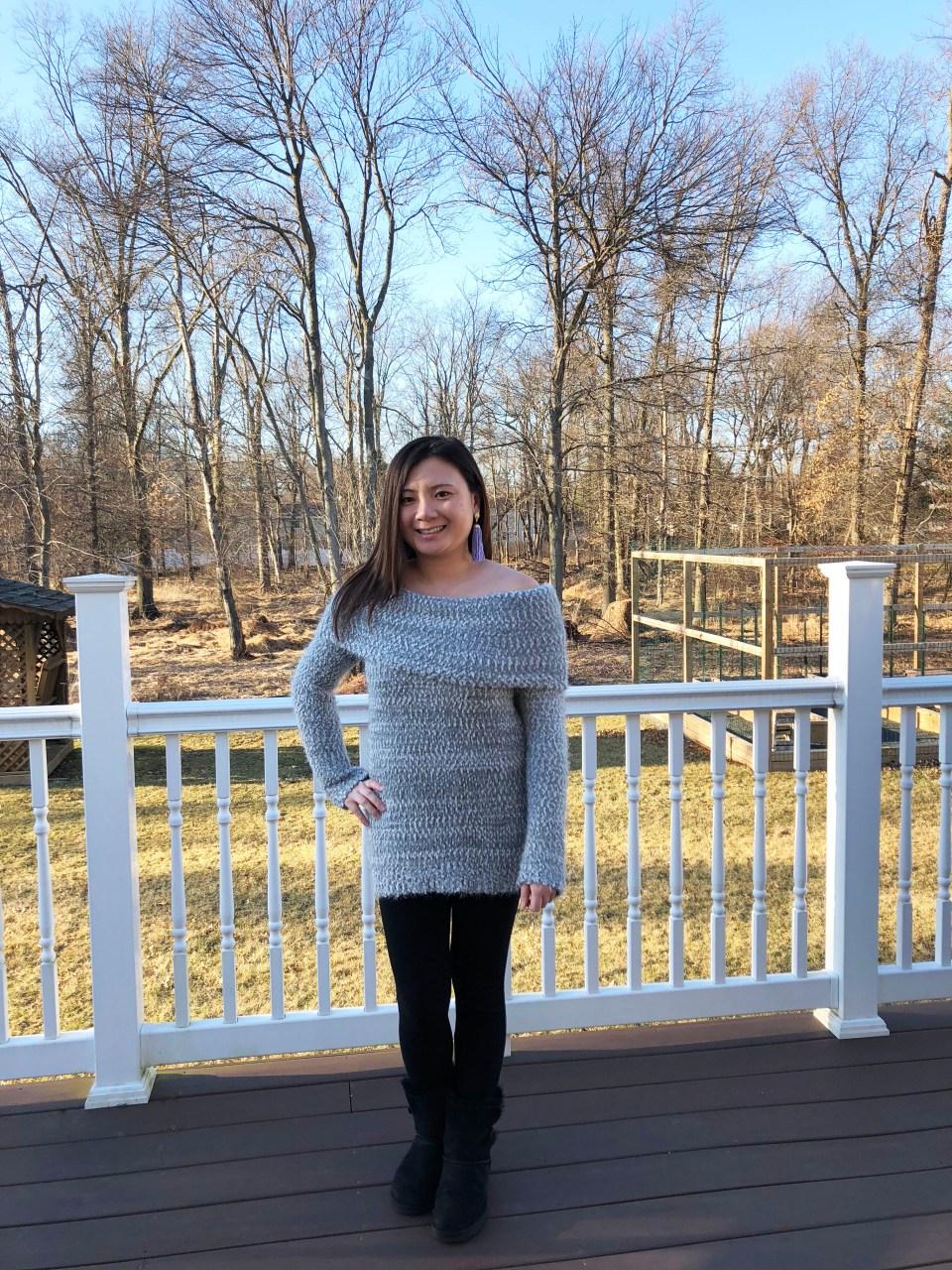 Grey Eyelash OTS Sweater 8