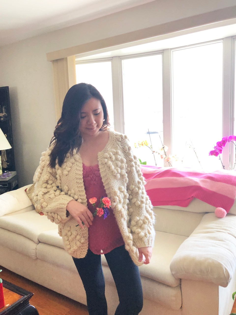 Lace Dot Cami + Heart Pompom Cardigan 11