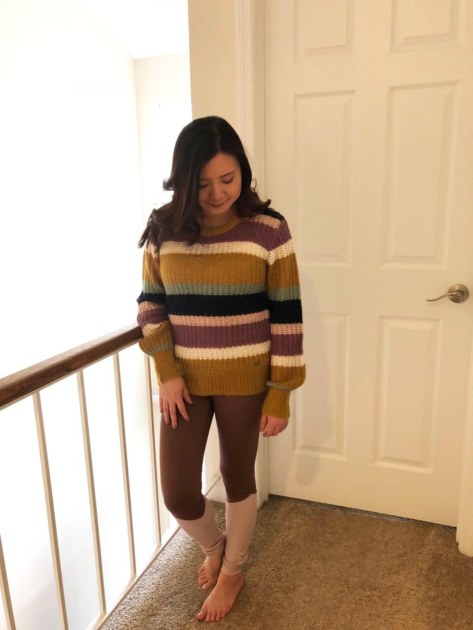 Lofty Puff Sleeve Striped Sweater 1