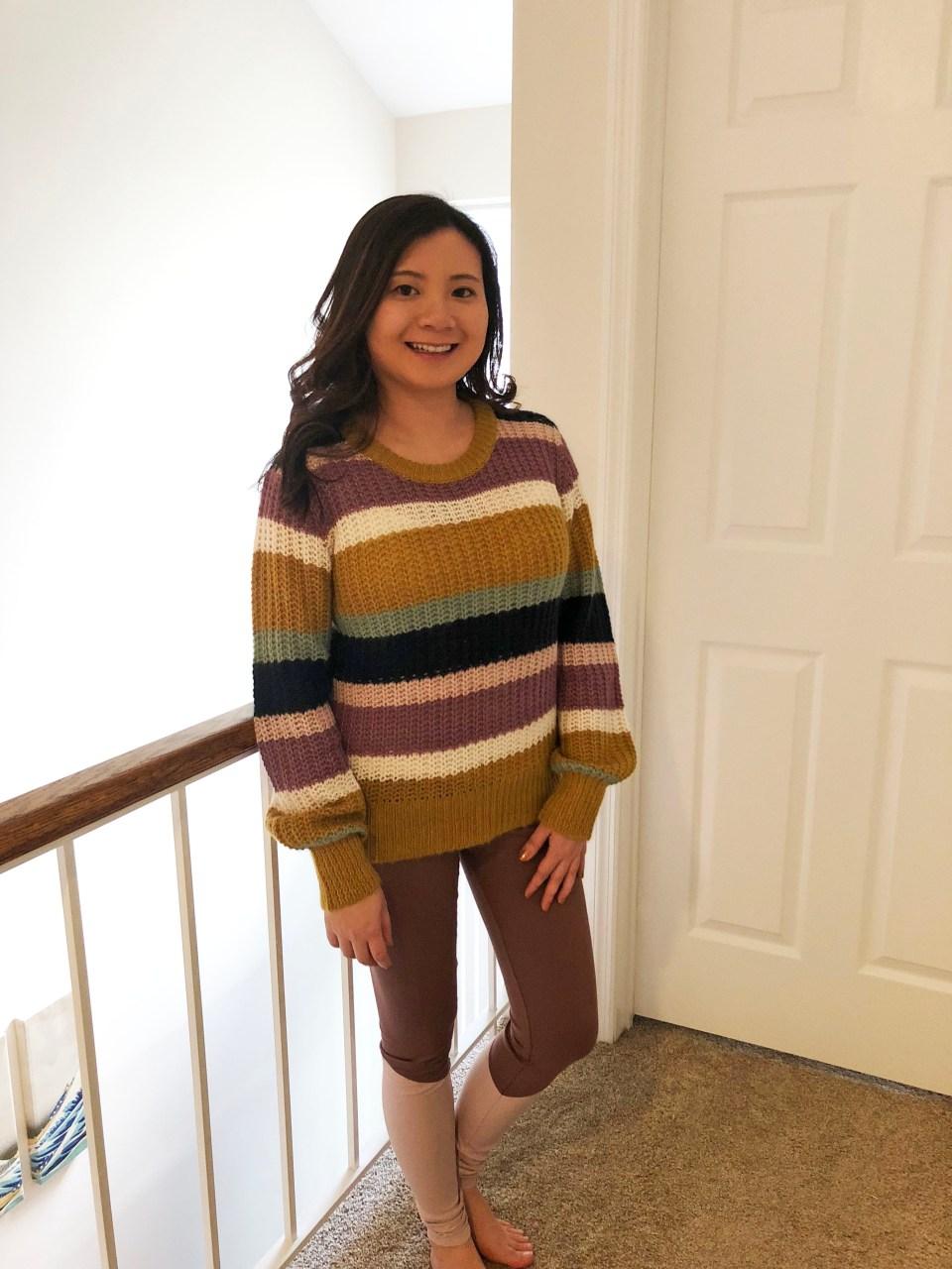 Lofty Puff Sleeve Striped Sweater 5