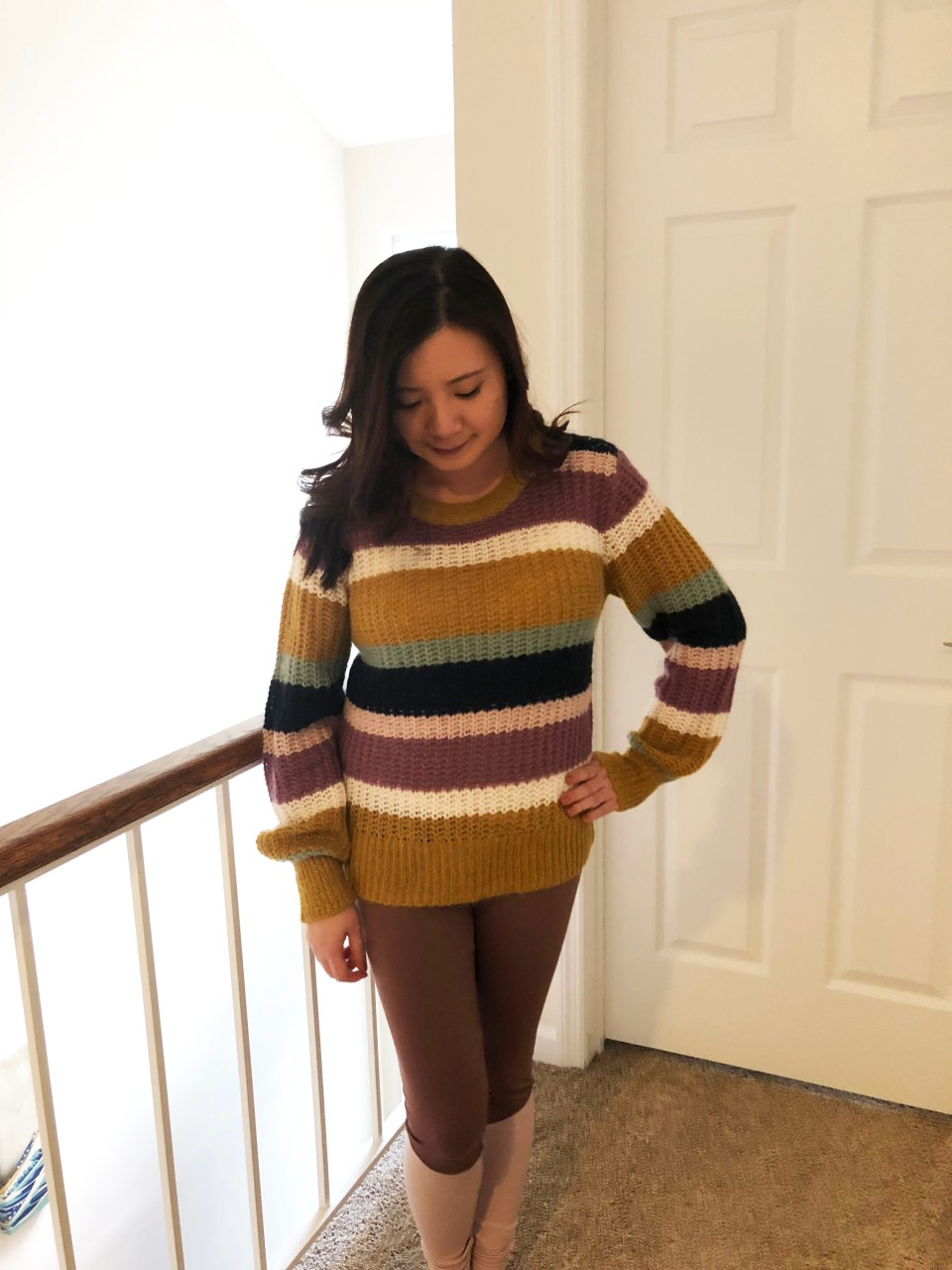 Lofty Puff Sleeve Striped Sweater 7