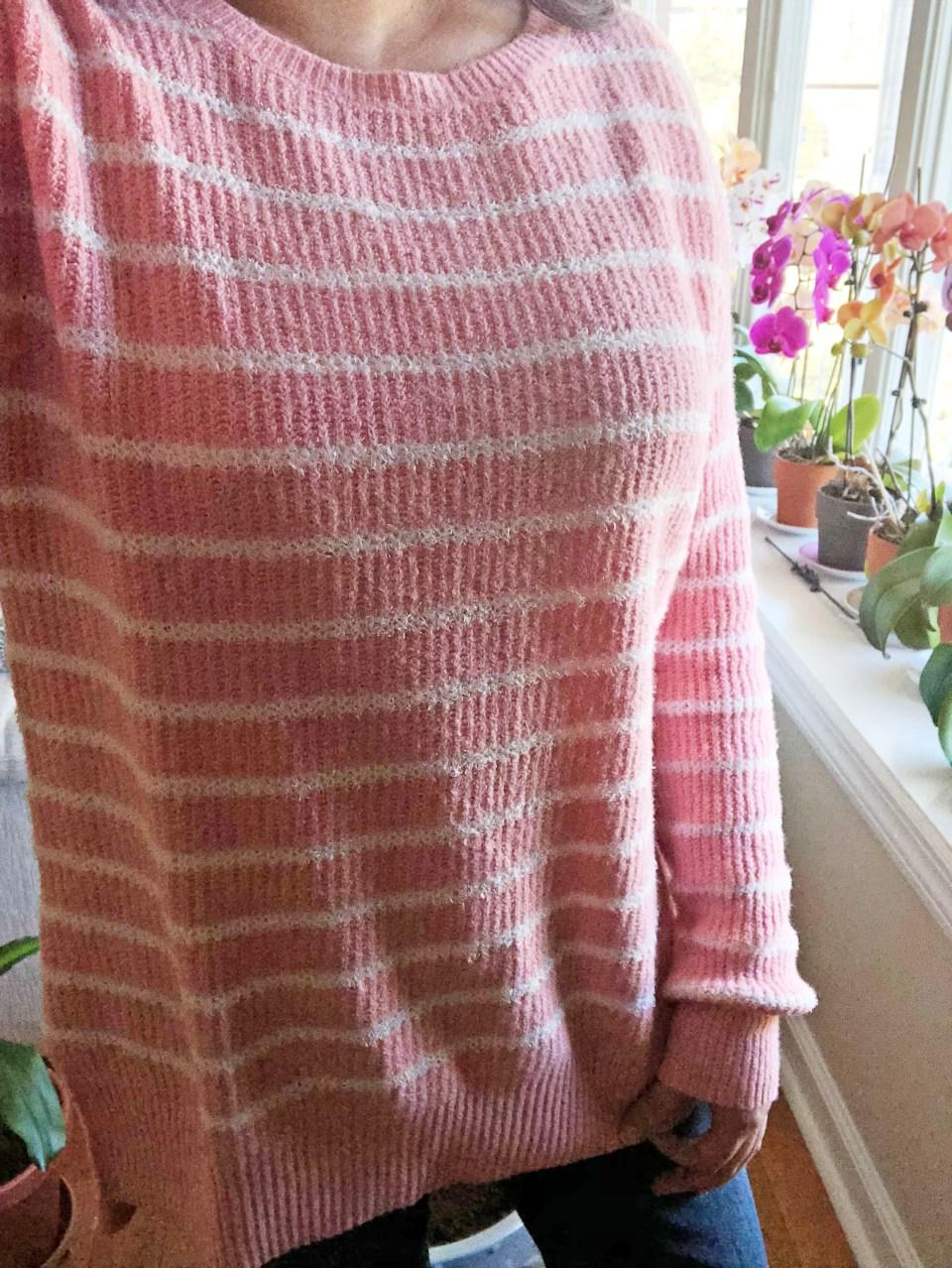 Pink & White Striped Sweater 11