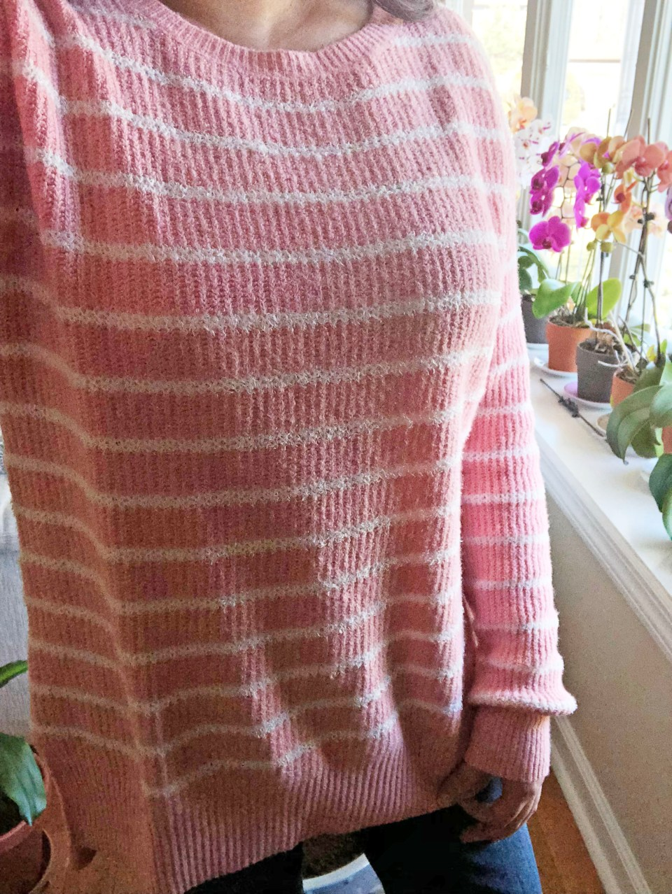 Pink & White Striped Sweater 11