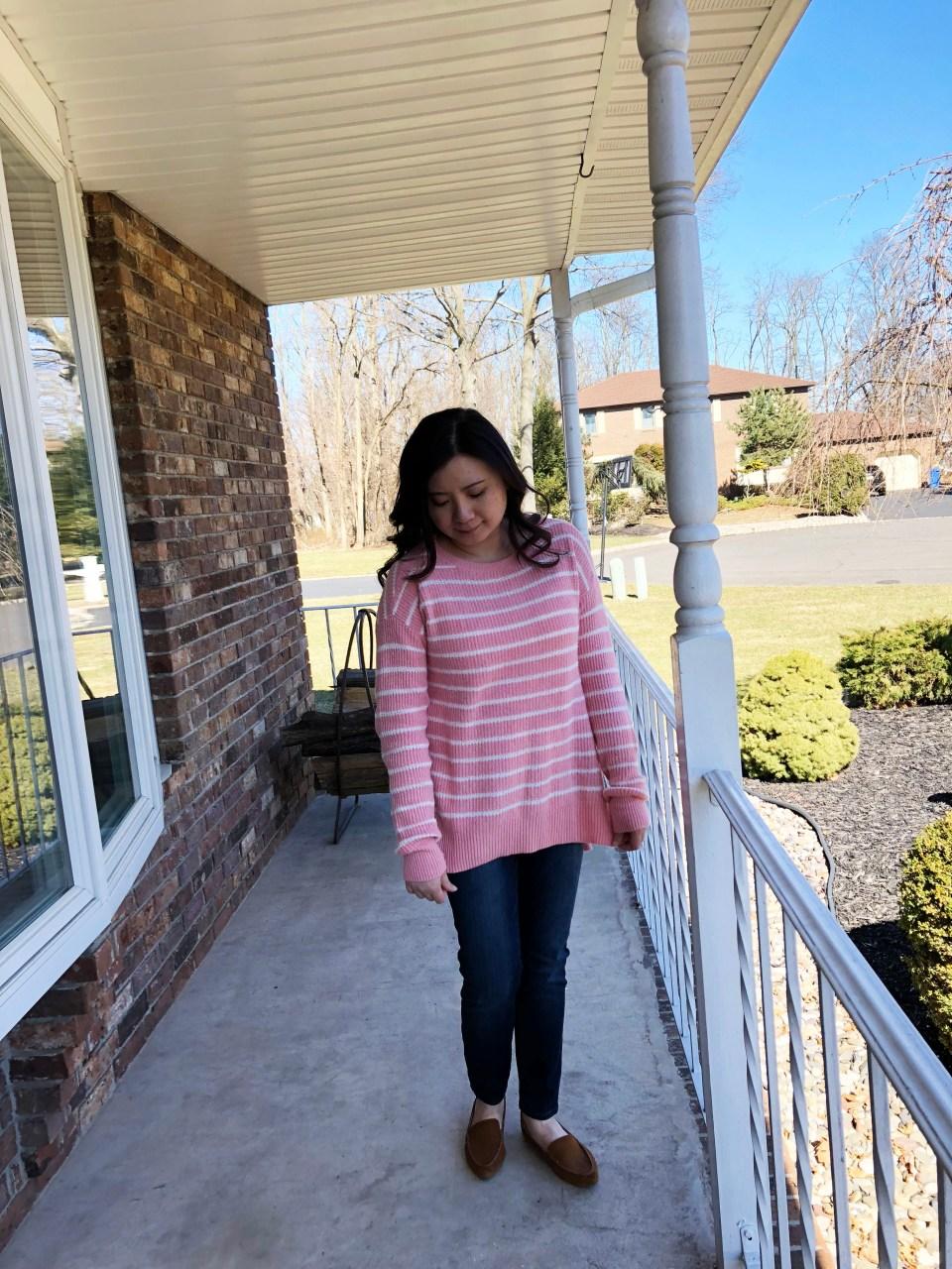 Pink & White Striped Sweater 7