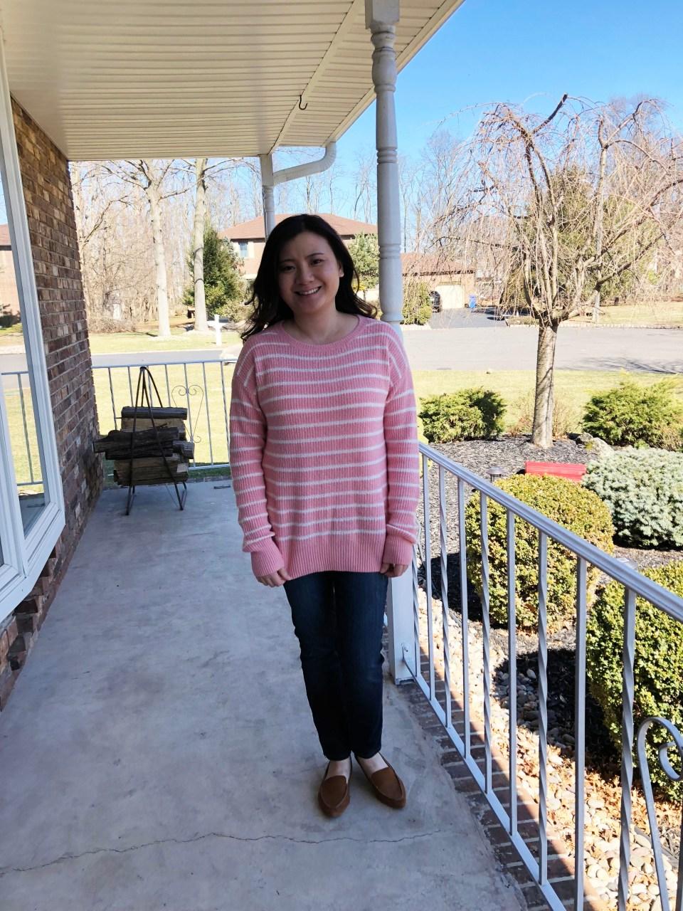 Pink & White Striped Sweater
