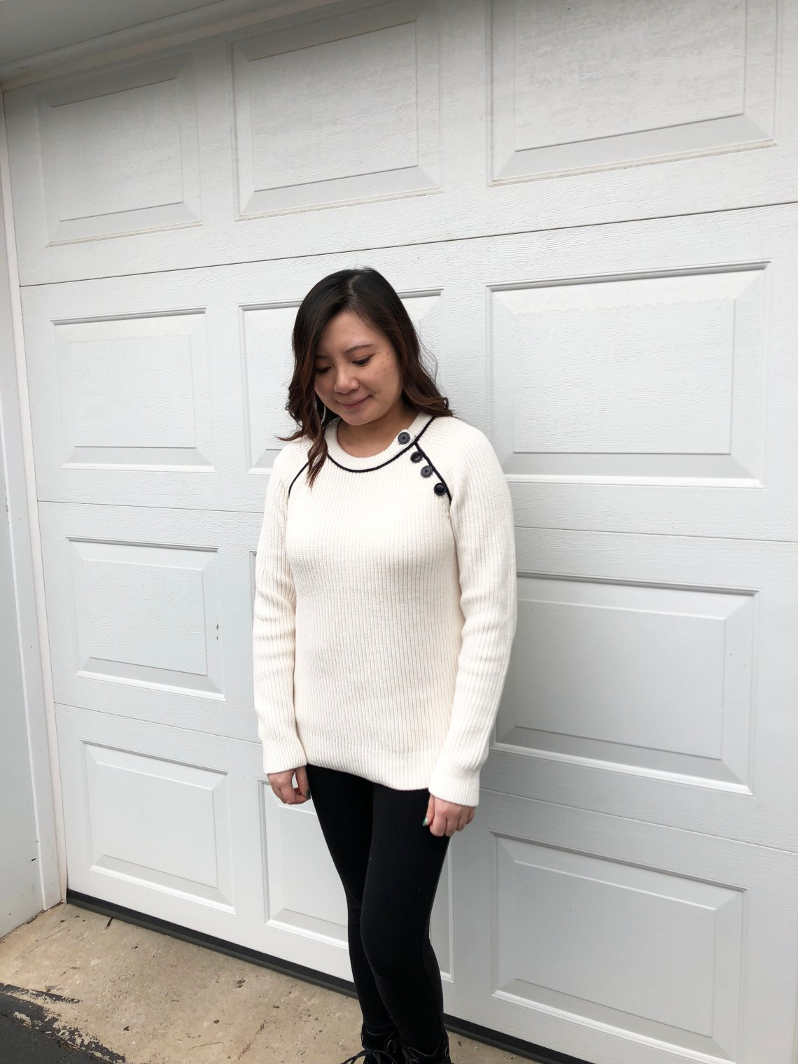 Piped Button Trim Sweater