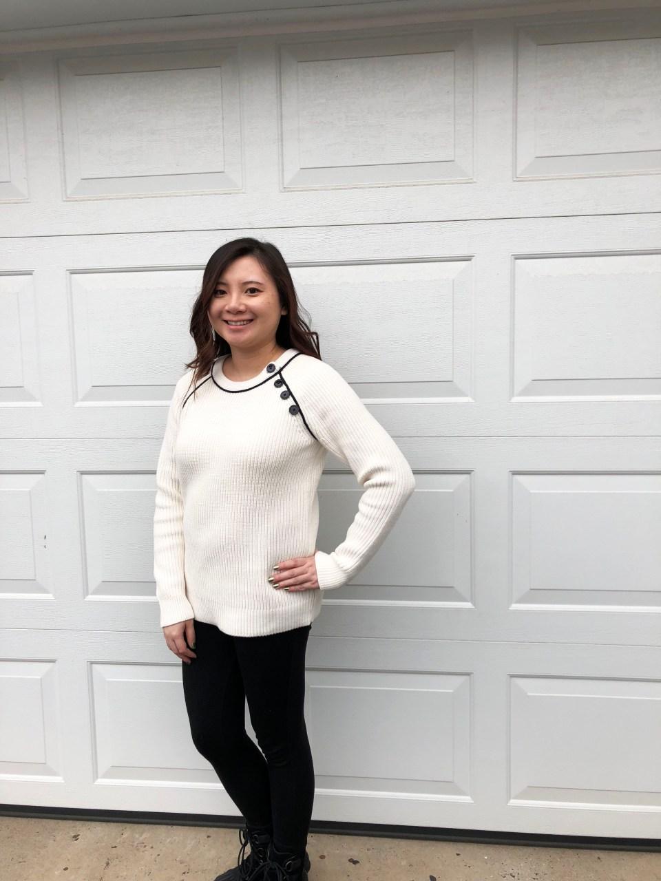 Piped Button Trim Sweater